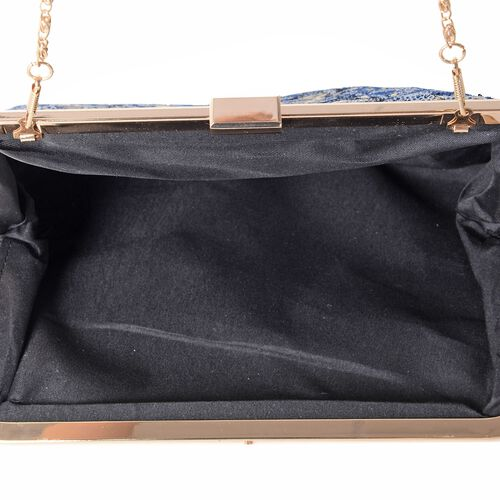 Luxury Brocade Embroidery with Sparkling Sequin Embellished Large Clutch  (Size 29x18 Cm)