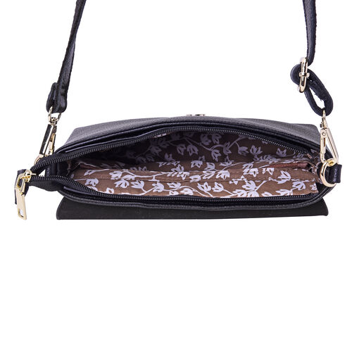 100% Genuine Leather Peacock Embossed Pattern Crossbody Bag (25x18x7cm) with Magnetic Closure in Black