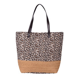 Leopard Pattern Tote Bag with Straw-Woven Design in White and Brown