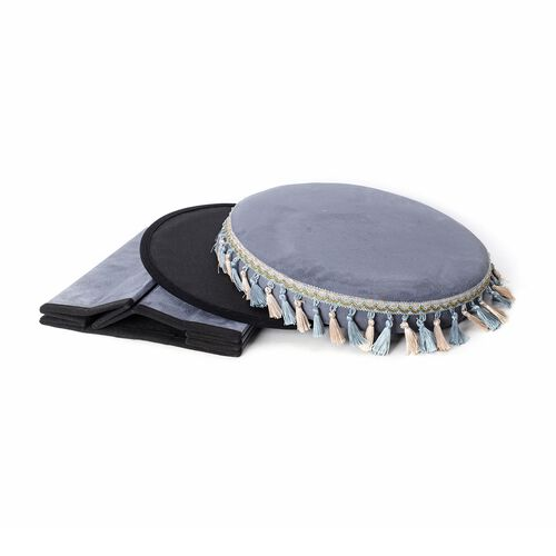 Grey Colour with Blue and Beige Tassels Foldable Storage box with Fringe Round (Size 43x40 Cm)