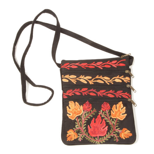 100% Merino Wool Multi Colour Flowers Embroidered Black Colour Bag (Size 26x21 Cm)