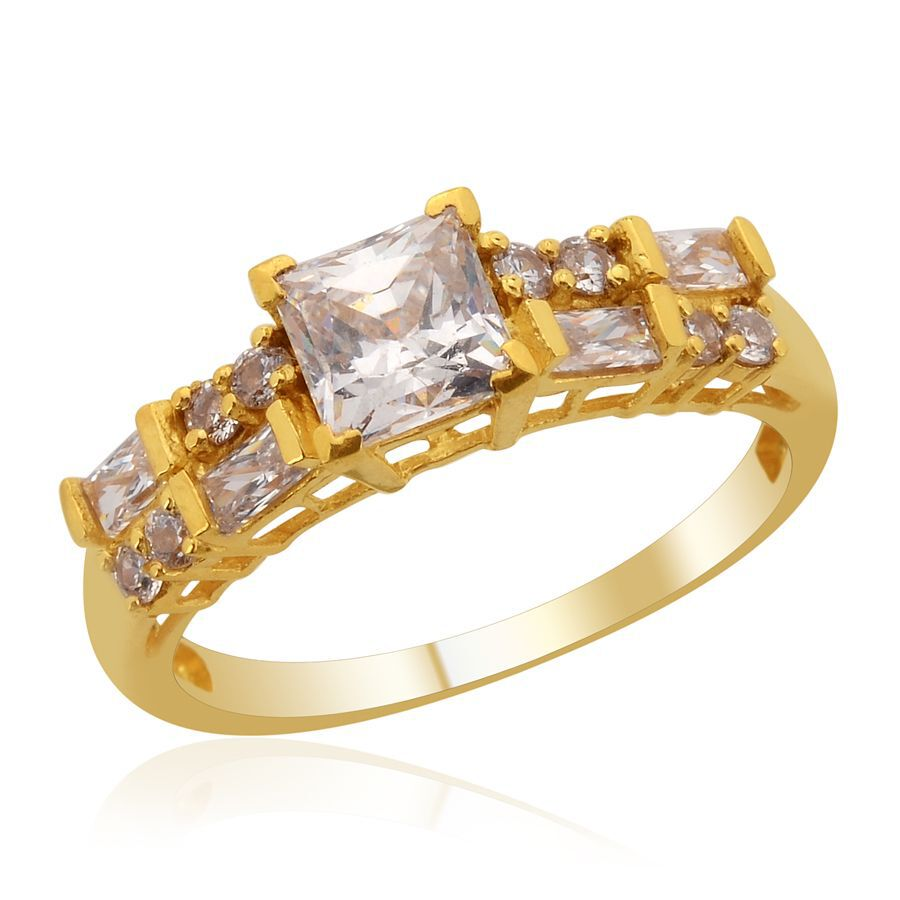 [Sponsored]TJC 14K Gold Over Sterling Silver Flower Ring made with Swarovski® Zirconia JyevhQTX