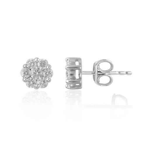 9K White Gold SGL Certified Diamond (Rnd) (I3/G-H) Stud Earrings 1.000 Ct.