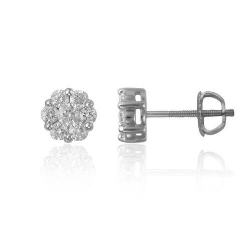 ILIANA 18K White Gold IGI Certified Diamond (Rnd) (SI/G-H) Earrings (with Screw Back) 1.000 Ct.