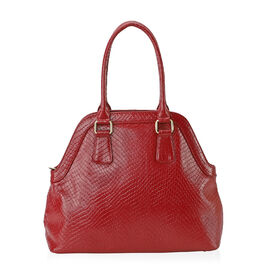 100% Genuine Leather Shoulder Bag with Zipper Closure (Size 35x29x12 Cm) - Red