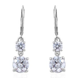 J Francis - Platinum Overlay Sterling Silver (Rnd) Lever Back Earrings Made With SWAROVSKI ZIRCONIA