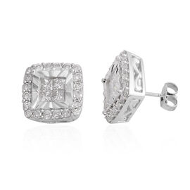 New York Close Out- 9K White Gold Diamond (Sqr and Rnd) (I1-I2) Earrings (with Push Back) 1.000 Ct.