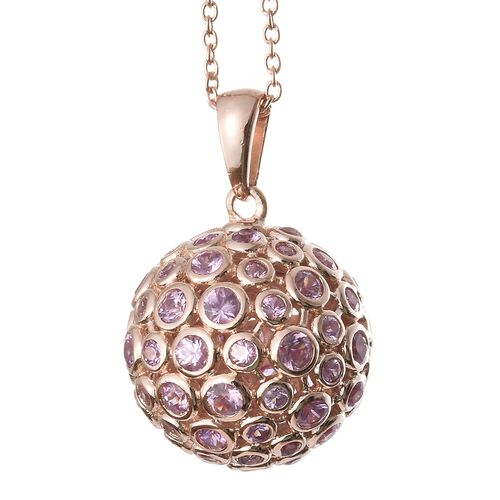 4.75 Ct Pink Sapphire Ball Pendant with Chain in Rose Gold Plated Silver 8.09 Grams