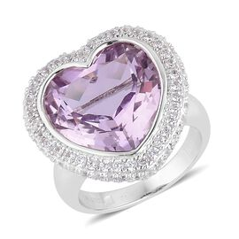 Rose De France Amethyst (Hrt 15mm, 9.75 Ct), Natural White Cambodian Zircon Ring in Rhodium Plated Sterling Silver 11.080 Ct. Silver wt 9.00 Gms.