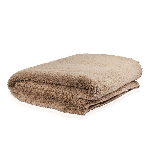 Supersoft Reversible Sherpa and Flannel Blanket in Light Camel Colour (Size 200X150 Cm)