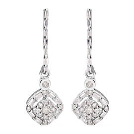 9K White Gold SGL Certified Diamond (I3/G-H) Lever Back Drop Earring 0.33 Ct.