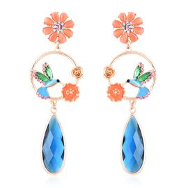 Simulated Blue Tourmaline and Multi Gemstone Flower and Humming Bird Dangle Earrings in Gold Tone