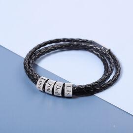 Personalised Engravable 4 Rings Leather Bracelet