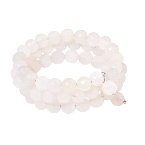 White Agate Multi Strand Adjustable Bracelet (Size 6 to 8.5) in Stainless Steel 215.000 Ct.