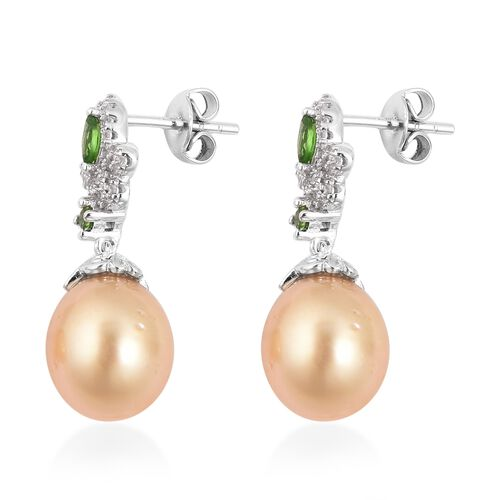 Golden South Sea Pearl, Natural White Cambodian Zircon and Russian Diopside Earrings (with Push Back) in Rhodium Overlay Sterling Silver
