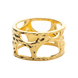 RACHEL GALLEY 14K Gold Overlay Sterling Silver Molten Band Ring, Silver wt 5.59 Gms.