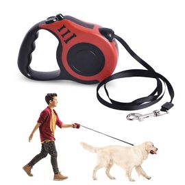 Retractable Dog Leash - Red (Rope Length 5m) (Size 10x3x23 cm)