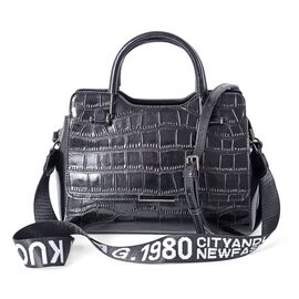 Close Out Deal 100% Genuine Leather Black Colour Crocodile Embossed Tote Bag with Removable Shoulder Strap (Size 27x20x12 Cm)