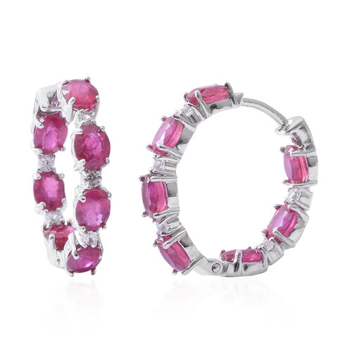 African Ruby (Ovl 6.42 Ct), Natural White Cambodian Zircon Earrings (with Clasp Lock) in Rhodium Ove