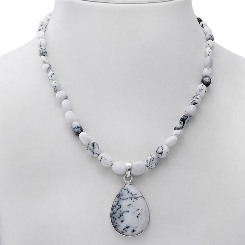 GP - Dendritic Opal Necklace with Teardrop Pendant in  Star Charm in Platinum Overlay Sterling Silver 150.03 Ct.