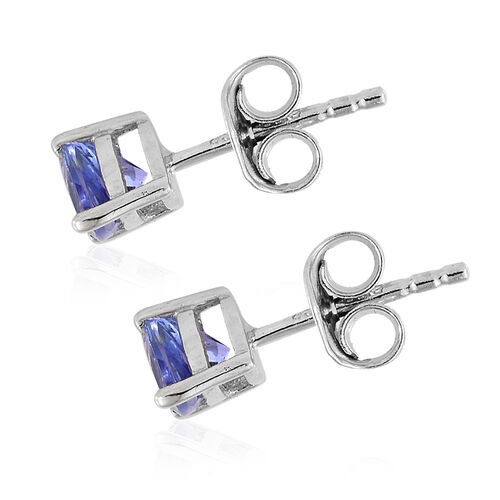 Tanzanite (Trl) Stud Earrings (with Push Back) in Platinum Overlay Sterling Silver 0.500 Ct.