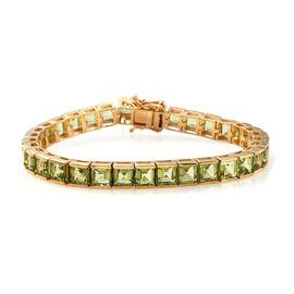 Hebei Peridot (Sqr) Bracelet (Size 7.0) in 14K Gold Overlay Sterling Silver 24.00 Ct, Silver wt 18.3