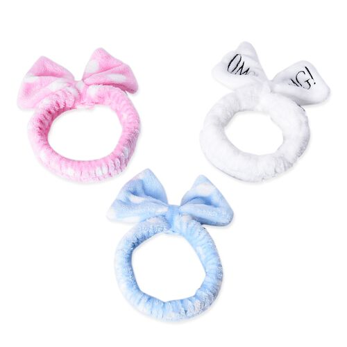 3 Piece Set - Lovely Bowknot Headband Non-Stretchable in Polka Dot Pattern (Dia 14 Cm) - Pink, White