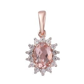 1 Carat Marropino Morganite and Zircon Halo Pendant in Rose Gold Plated Sterling Silver