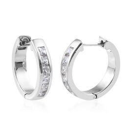 J Francis Platinum Overlay Sterling Silver (Princess cut) Hoop Earrings  Made with SWAROVSKI ZIRCONI