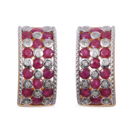Burmese Ruby (Rnd), Natural Cambodian White Zircon Earrings (with Push Back) in Yellow Gold and Platinum Overlay Sterling Silver 4.680 Ct, Silver wt 8.50 Gms