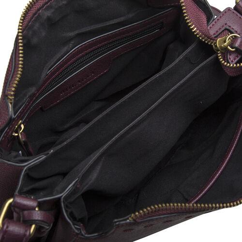 Bulaggi Collection - Gerbera Crossbody Bag with Adjustable Shoulder Strap and Detachable Tassel (Size 23x18x8cm) - Burgundy