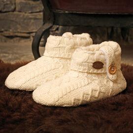 Aran Woollen Mills Bootee Slippers Cream