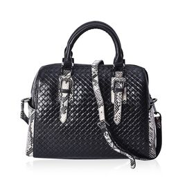 100% Genuine Leather Black and Beige Snake Skin Pattern Tote Bag with Detachable Shoulder Strap (Siz