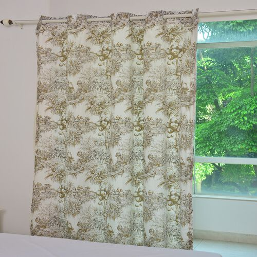 Toile de Jouy Romantic Print Eyelet Curtain and Tieback in Brown and Beige Tones with Solid Colour L