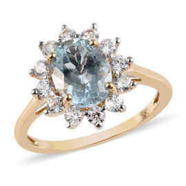 2.60 Ct AA Espirito Santo Aquamarine and Zircon Ring in 9K Yellow Gold