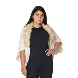 Ultra Soft Winter Kimono with Faux Fur Collar (Size 85x45 Cm)- Off White