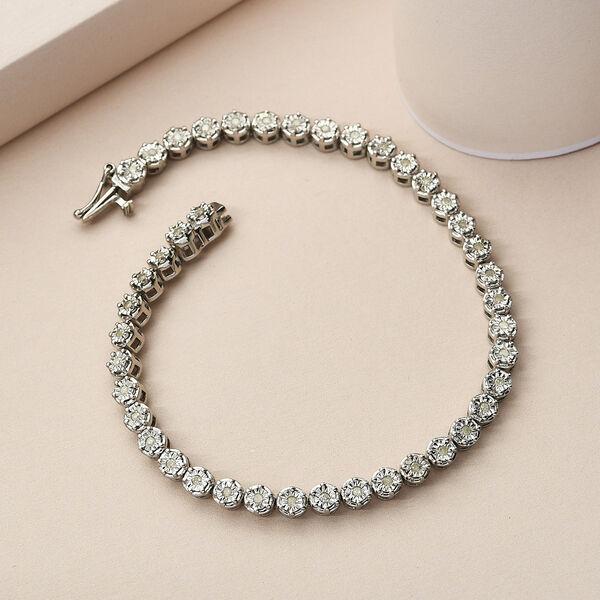 Diamond (Rnd) Bracelet (Size 7.5) in Platinum Overlay Sterling Silver 0.50 Ct, Silver wt. 11.22 Gms