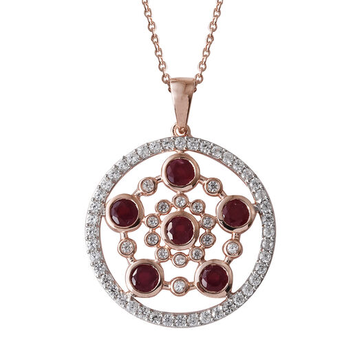 African Ruby (Rnd 3.15 Ct), Natural White Cambodian Zircon Circle Pendant With Chain (Size 18) in Rose Gold Overlay Sterling Silver 4.750 Ct, Silver wt 6.32 Gms.