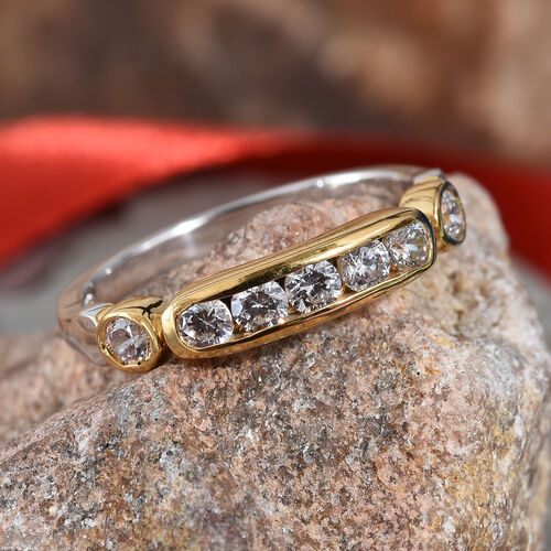 J Francis Platinum and Yellow Gold Overlay Sterling Silver (Rnd) Band Ring Made with Swarovski Zirconia