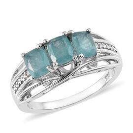 Grandidierite (Cush), Diamond Ring in Platinum Overlay Sterling Silver 1.15 Ct.