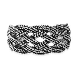 Rhodium Overlay Sterling Silver Wire Braided Cuff Bangle (Size 7 - 8), Silver wt 29.81 Gms