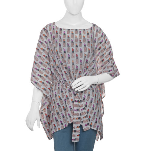 Designer Inspired- Limited Available- 100% Modal - Off White and Multi Colour Lipstick Pattern Top/K