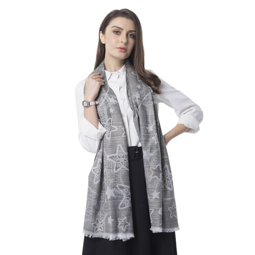 Golden, Dark and Light Grey Colour Scarf with Star Pattern (Size 180x68 Cm)