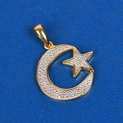 Diamond Moon and Star Pendant in 14K Gold Overlay Sterling Silver