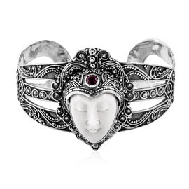 Princess Bali Collection OX Bone Carved Face (Ovl), African Ruby Bangle (Size 7.25) in Sterling Silv