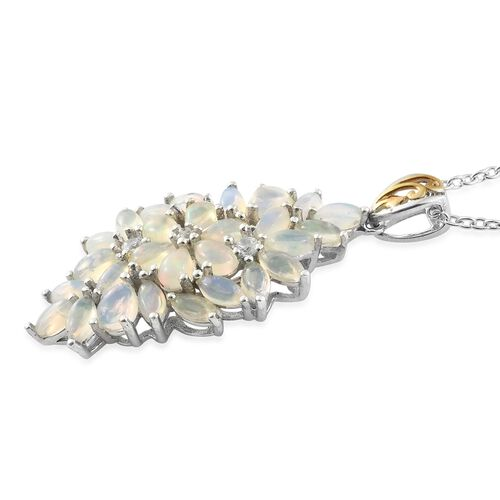 Ethiopian Welo Opal (Pear), Natural Cambodian Zircon Floral Pendant with Chain in Platinum and Yellow Gold Overlay Sterling Silver 3.000 Ct.