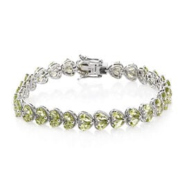Hebei Peridot (Pear) Bracelet (Size 7.25) in Platinum Overlay Sterling Silver 13.000 Ct, Silver wt 12.26 Gms.