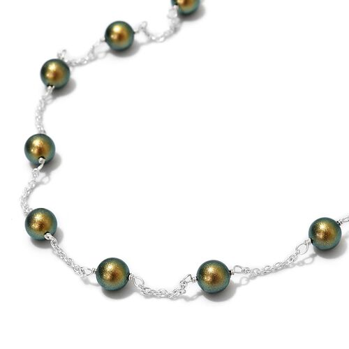2 Piece Set - J Francis Crystal from Swarovski Iridescent Green Pearl Crystal Earrings and Necklace (Size 20) in Sterling Silver