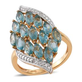 Paraiba Apatite (Mrq), Diamond Ring in 14K Gold Overlay Sterling Silver 4.260 Ct.