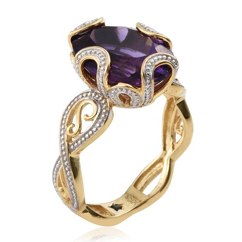 GP Amethyst (Ovl), Kanchanaburi Blue Sapphire Ring in 14K Gold Overlay Sterling Silver 8.270 Ct.